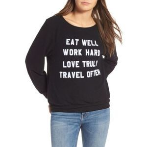 Wildfox Baggy Jumper Mantra Eat Love Travel - Rare
